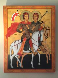 An icon of Saints Sergius and Bacchus, an example of a pair of same-sex friends venerated in the church. My friend Becca Chapman wrote this for me, and it hangs on my wall as encouragement.