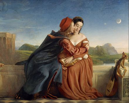 """William Dyce, """"Francesca da Rimini."""" Based on the story of Paulo and Francesca in Canto V of Dante's Inferno."""
